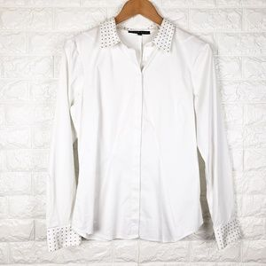 Antonio Melani Studded Collar White Button Down